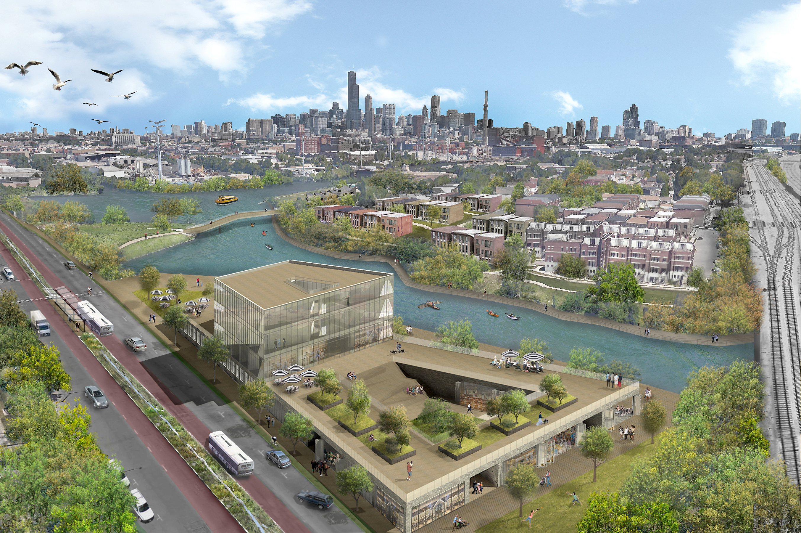 A bird's-eye view rendering of future mixed use development by the Chicago River at Bubbly Creek. (Courtesy of the Metropolitan Planning Council)