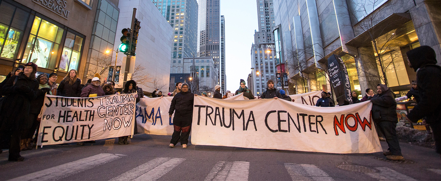 UChicago trauma center rally