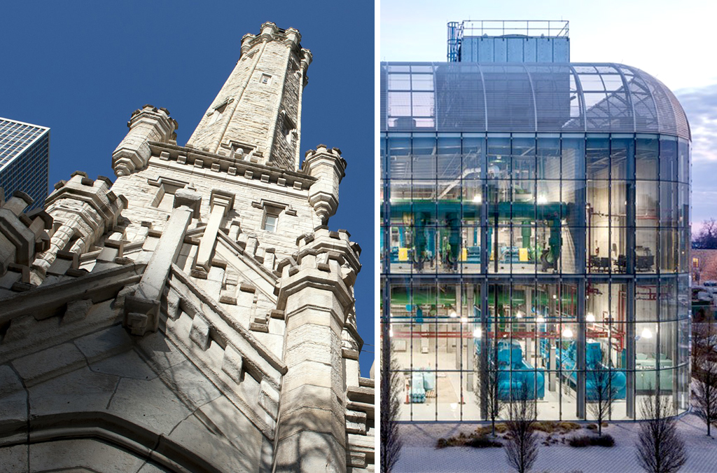 The Chicago Water Tower, left, was built in the late 1860s and the University of Chicago's South Campus Chiller Plant, right, was built in 2010. Both offer very different approaches to housing the infrastructure that's inside. (Photos courtesy Eric Rogers and Tom Rossiter).