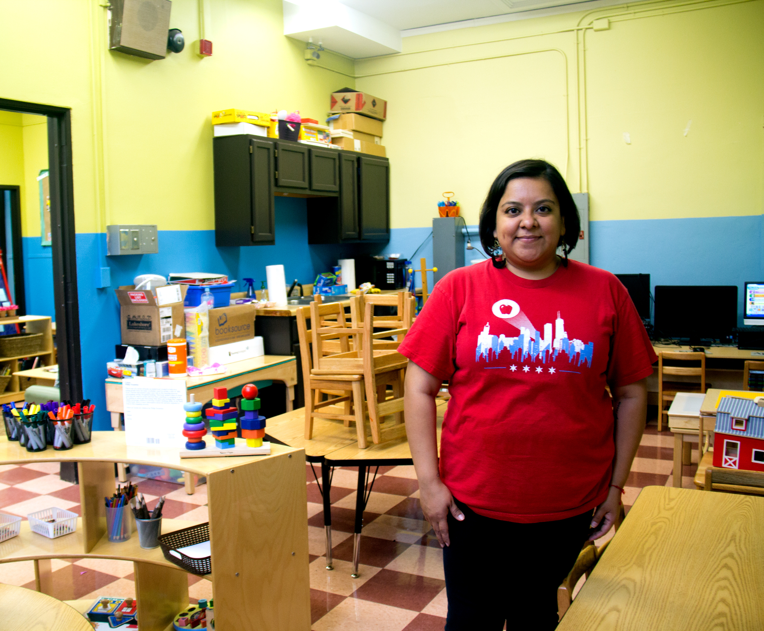 Vanessa Saucedo is a preschool teacher at Telpochcalli Elementary School in the city's Little Village neighborhood. (Susie An/WBEZ)