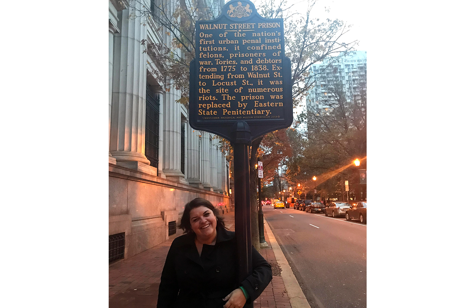 Questioner Andrea Krieg at the site of the Walnut Street Prison, a city jail and penitentiary house in Philadelphia, Pennsylvania from 1773 to 1838. (Courtesy Andrea Krieg)