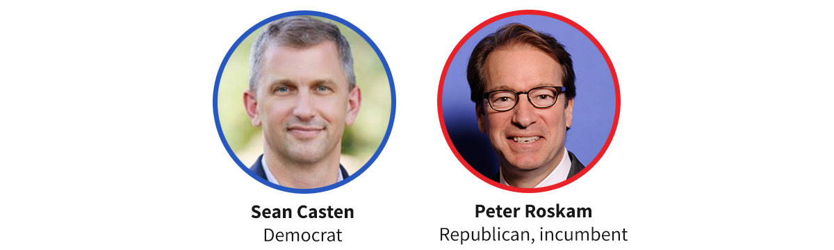 Images of Democratic candidate Sean Casten and Republican incumbent Peter Roskam