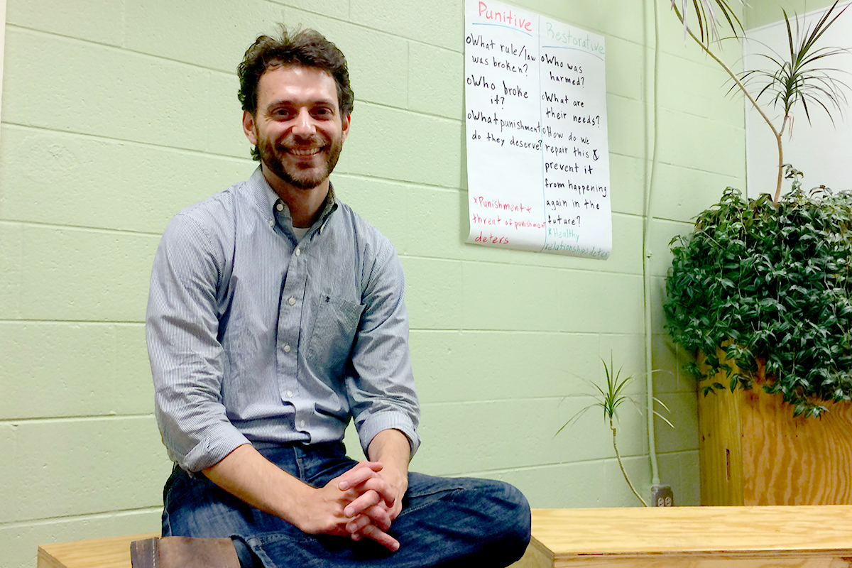 Michael Meyer works for the social service agency Alternatives, Inc., and worked for three years as Robeson High School's peace 'guru,' teaching students to resolve conflicts through discussion. (Linda Lutton/WBEZ)
