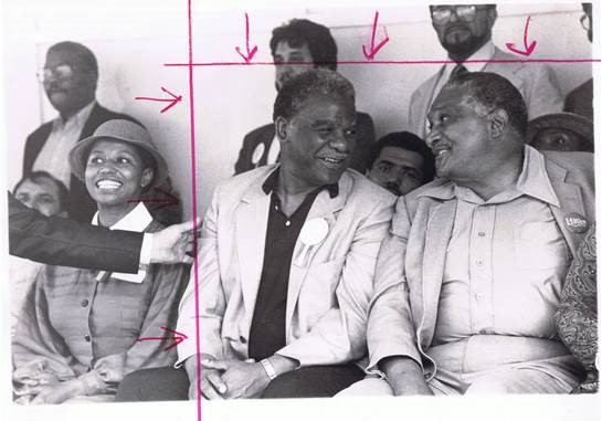 Carol Moseley Braun, then-Mayor Harold Washington, and politician Charles Hayes in 1983. Photo courtesy of the Chicago Defender/Obsidian Collection.
