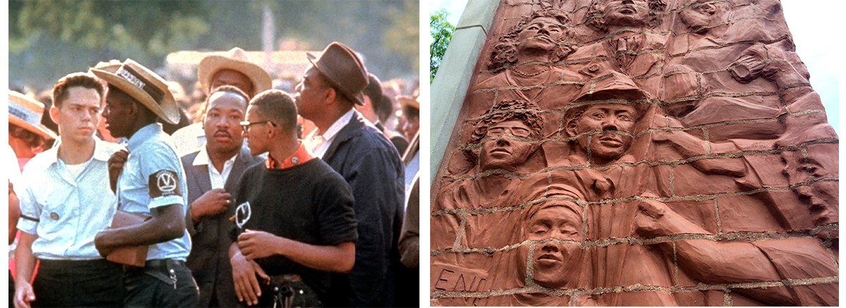 On the left, Dr. Martin Luther King Jr., surrounded by Chicago Freedom Movement marchers in Marquette Park, Chicago, August 1966. On the right, a panel in the monument installed in Marquette Park.  (Collection of the Smithsonian National Museum of African American History and Culture, Gift of Bernard J. Kleina and Susan Keleher Kleina, © Bernard J. Kleina)
