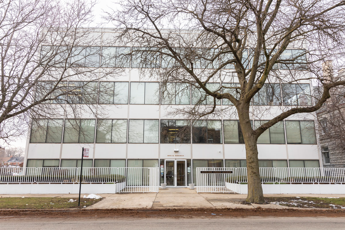 The office building was designed by John Moutoussamy, a pioneering African-American architect who studied under famed minimalist Mies van der Rohe. (Manuel Martinez/WBEZ)