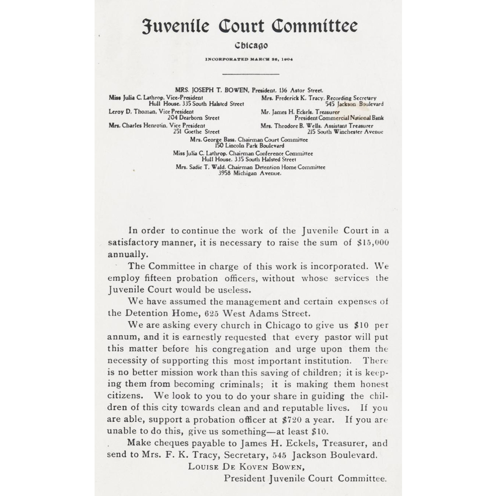 A 1904 flyer from the Juvenile Court Committee urged churches to donate money to support the court's operations. (Courtesy Chicago History Museum, ICHi-37491)