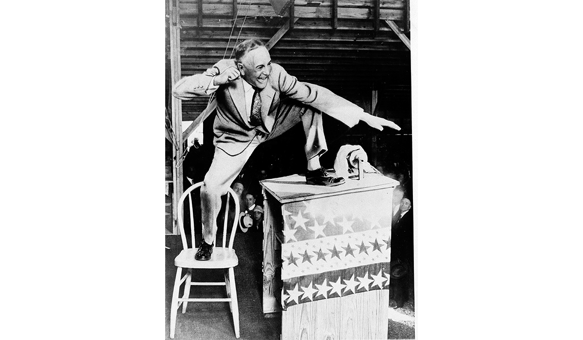 Evangelical preacher Billy Sunday was known across the country for his animated sermons about social and political issues, notably the dangers of alcohol consumption. (Courtesy AP Photos)