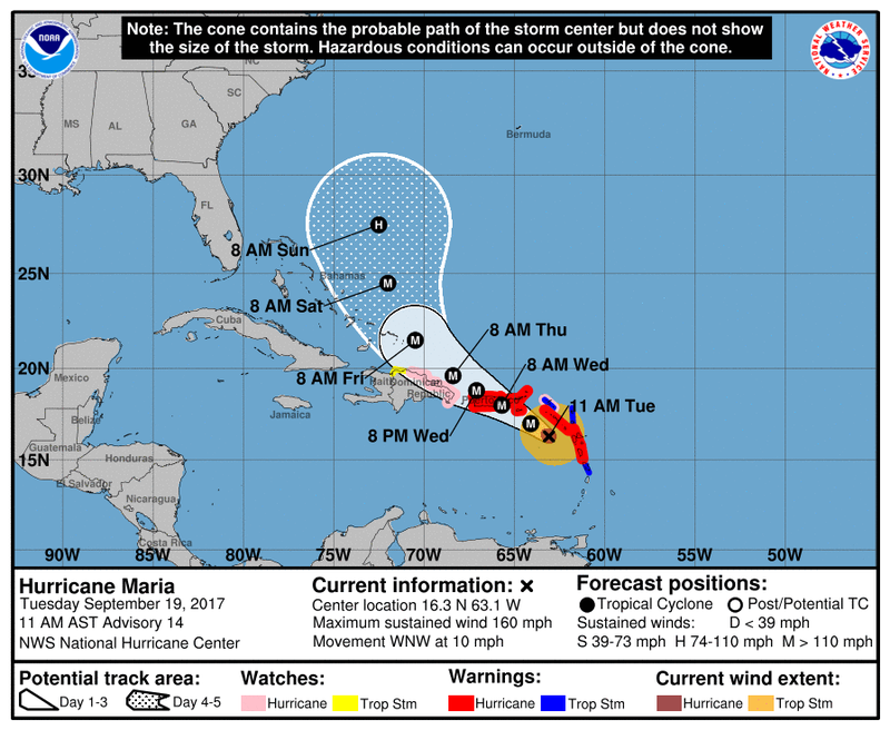 The eye of Hurricane Maria is forecast to pass over the center of Puerto Rico on Wednesday. (National Hurricane Center)