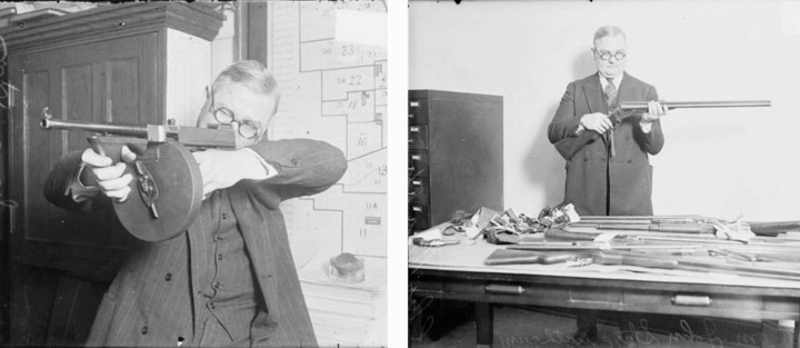 Left: Chicago Police Department Capt. John Stege demonstrates a Thompson submachine gun at police headquarters in 1927. Right: Capt. Stege examines recovered rifles and shotguns in 1929. (Courtesy Chicago History Museum, Chicago Daily News negatives collection, DN-0082620, DN-0087280)