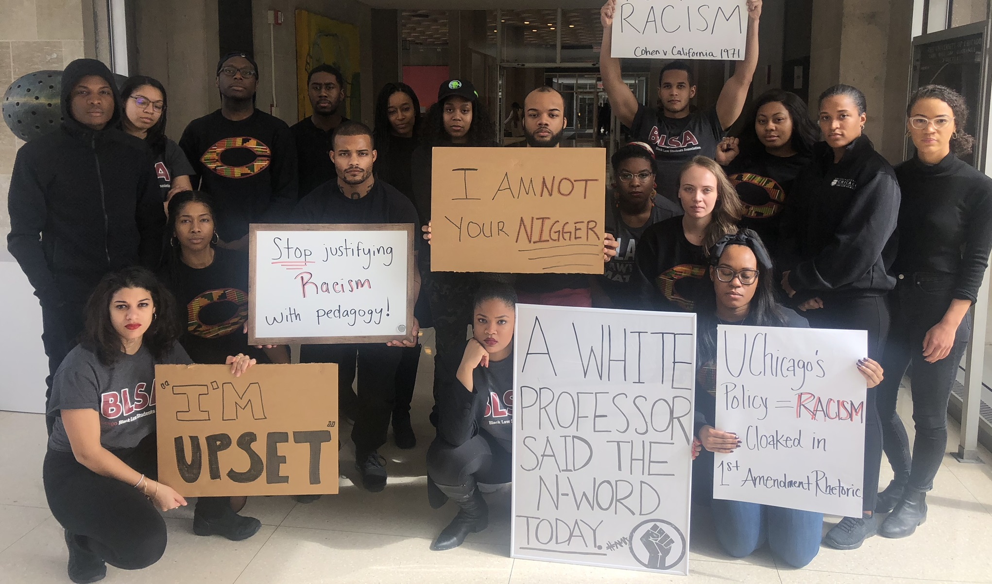 The Black Law Students Association at the University of Chicago protested the use of the n-word by a law professor.