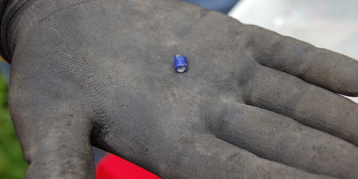 Excavators found a blue glass bead which could be a sign of West African religious traditions. (Susie An/WBEZ)