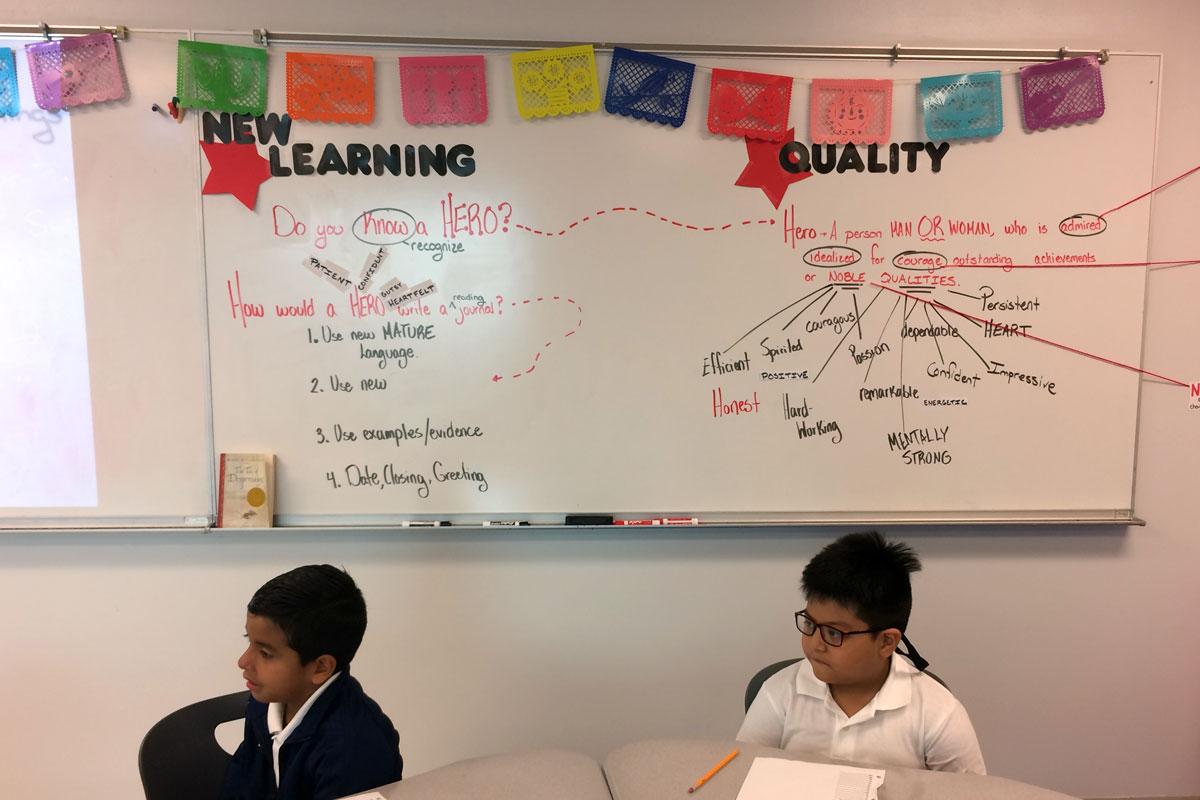 "A display of traditional Mexican papel picado hangs in the third grade classroom at Jovita Idár Elementary. Principal Sandra Medina-Alba says a school goal is to make sure students feel ""proud of being Latino and bilingual and bicultural."""