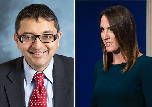 Illinois Public Health Director Nirav Shah (left) and former Rauner administration press secretary Lindsay Walters (right). Walters suggested Shah's department hold off on a press release about an outbreak of Legionnaires' disease to 'see if we receive any reporter inquiries.' (Images via Illinois Department of Public Health and Dougfarber1/Wikimedia commons)