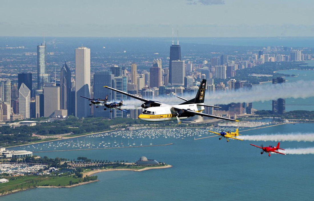 Today's Air and Water Show features 20 performance acts, including military aircrafts, civilian planes, historic aircrafts, an American Airlines 787, and a Chicago Fire Department air and sea rescue boat. (Courtesy City of Chicago)
