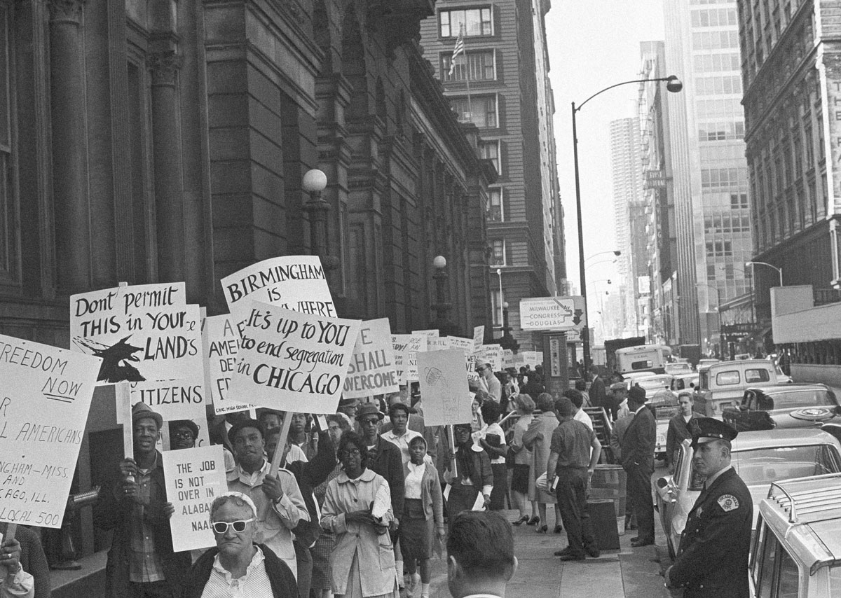 A protest against segregation in Chicago and the south in 1963. (AP Photo)