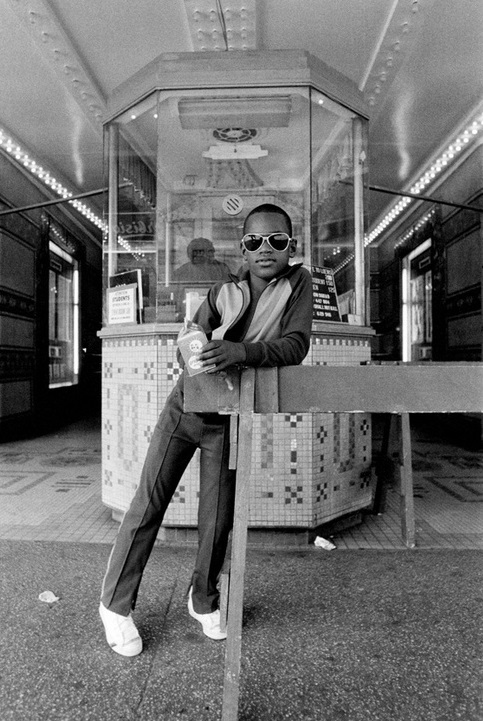 Dawoud Bey, 'A Boy in Front of the Loews 125th St. Movie Theatre, Harlem, NY,' Harlem USA, Courtesy of Dawoud Bey