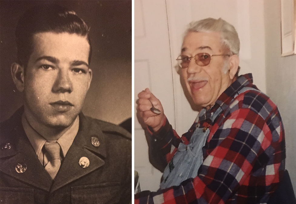 Eugene Miller during his time in the army in 1945 (left) and later in life (right). (Courtesy of the Miller family)
