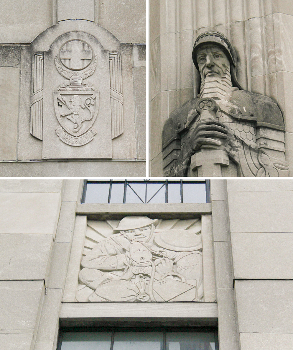 Some of the many carvings that cover the limestone walls of the General Richard L. Jones Armory.