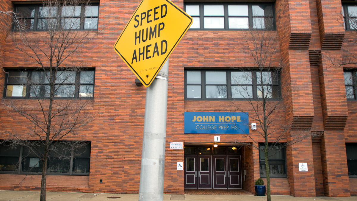 Hope College Prep High School is only expecting 40 students total to enroll by the start of school on Sept. 4. It is slated for closure by 2021. (Andrew Gill/WBEZ)