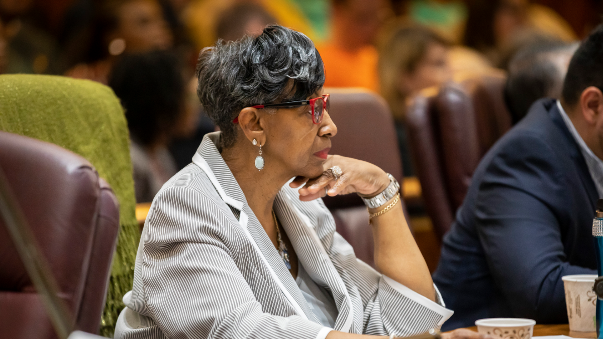 Ald. Carrie Austin attends a City Council meeting on June 12, 2019.