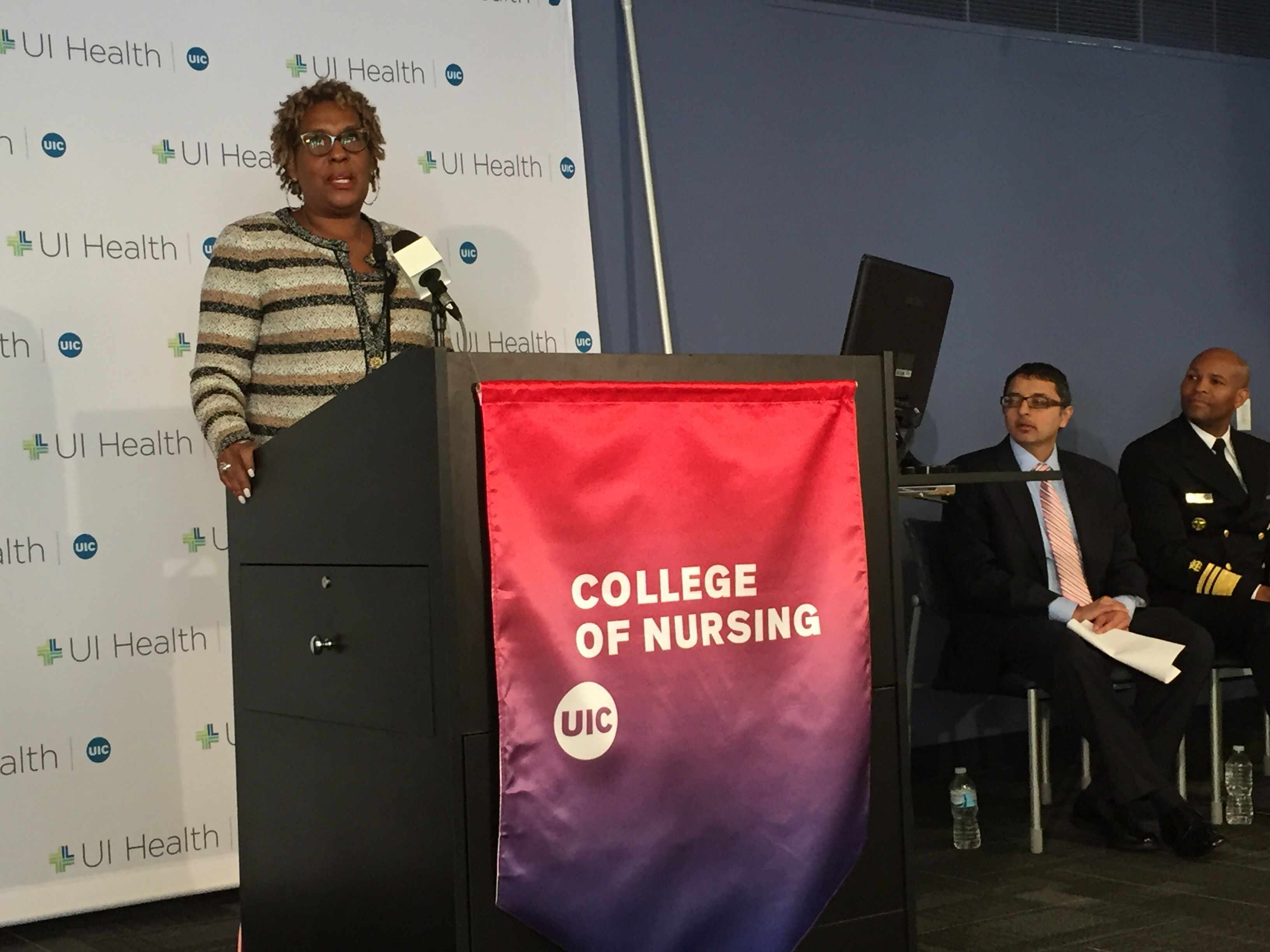Dr. Robin Jones, chair of the state's maternal mortality review committee, speaks at the report's release in Chicago on Oct. 18, 2018. (Susie An/WBEZ)