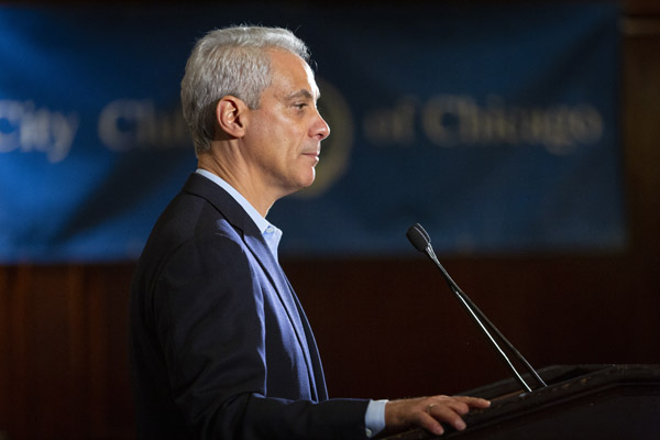 Mayor Rahm Emanuel at the City Club of Chicago last month. (Manuel Martinez/WBEZ)