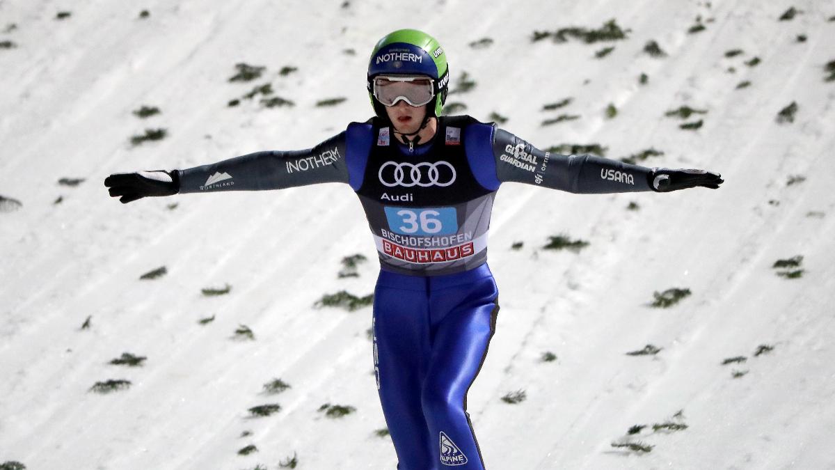 Kevin Bickner completes an attempt at the ski jump in Bischofshofen, Austria, on Jan. 6, 2018. (AP Photo/Matthias Schrader)