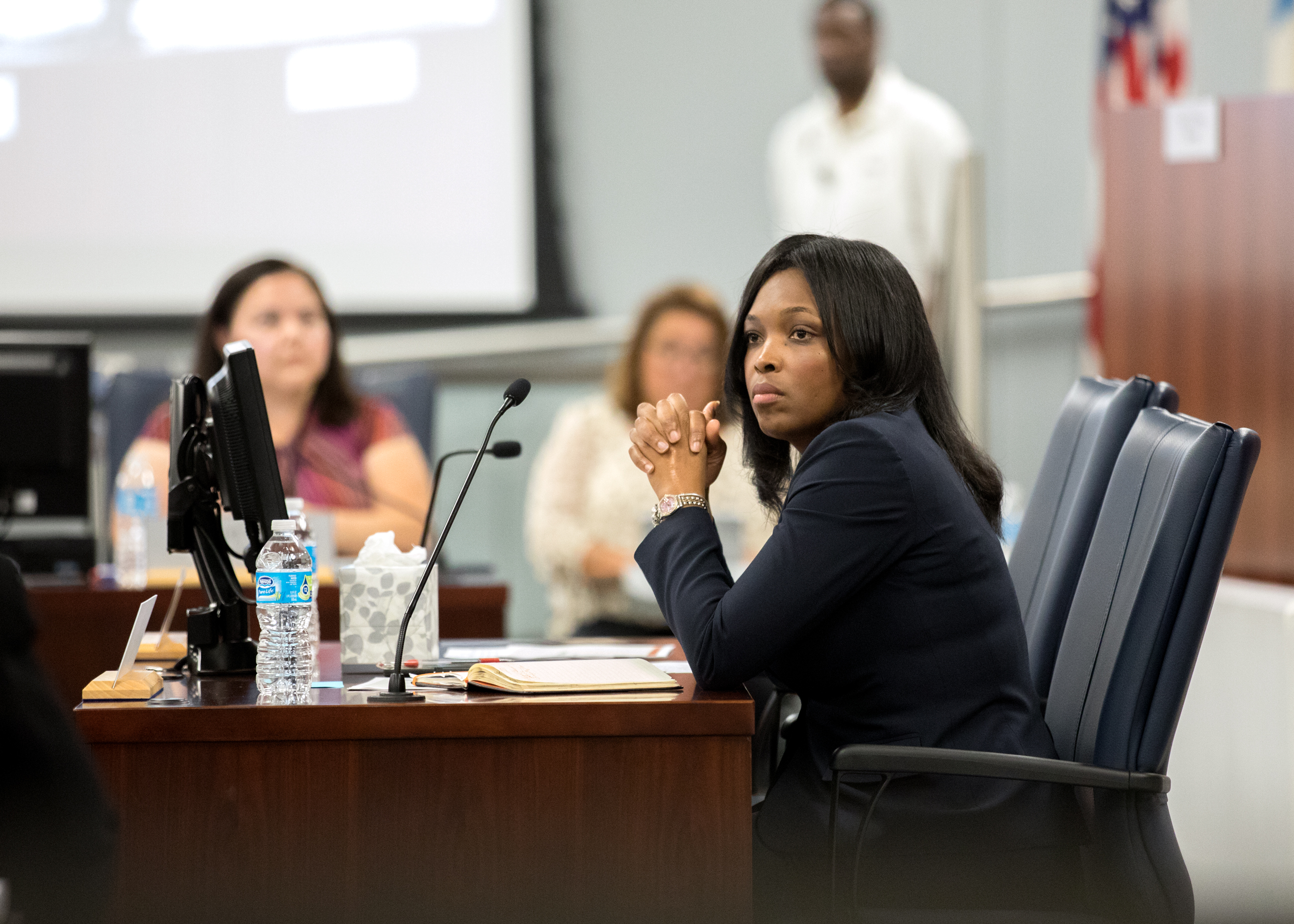 Chief Education Officer Janice Jackson at an August 2017 Chicago Board of Education meeting. She was selected Friday to take over as CEO on an interim basis. (Andrew Gill/WBEZ)