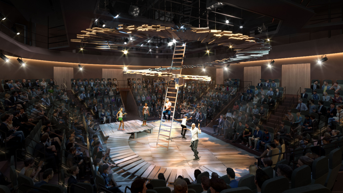 An artist rendering of the interior of the new 400-seat performance space that Steppenwolf Theatre plans to build. (Courtesy of Steppenwolf Theatre)