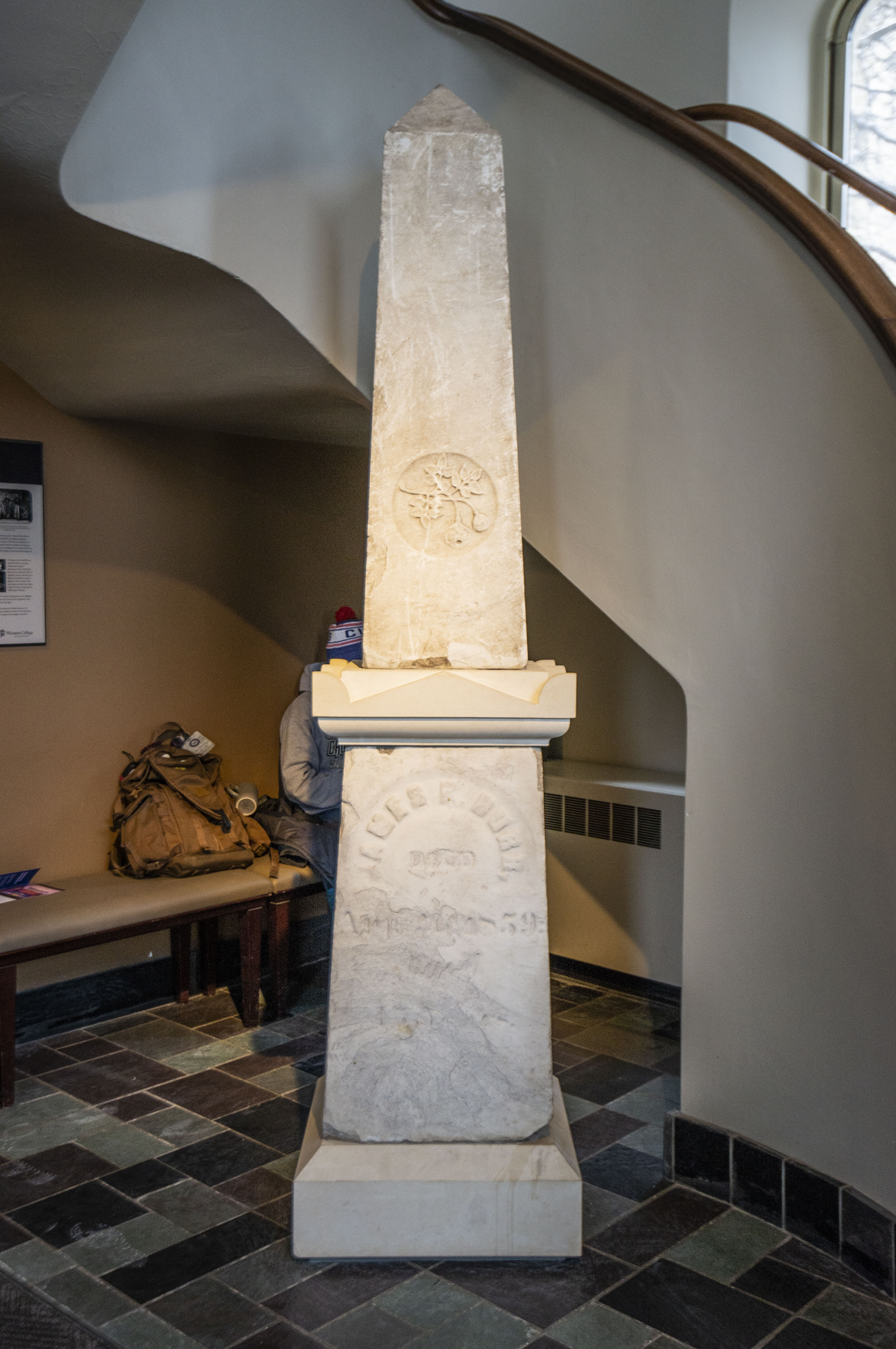 The James Burr obelisk in Blanchard Hall at Wheaton College on Feb. 11, 2019. Uncovered during recent excavations, it's a monument to the pre-Civil War abolitionist convicted and sentenced to hard labor in Missouri for helping to free slaves. (Jason Marck/WBEZ)