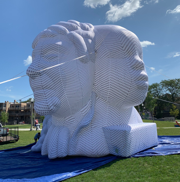 The sculpture after its inflated on Wednesday at Pendleton Park in Bronzeville. (WBEZ/Carrie Shepherd)