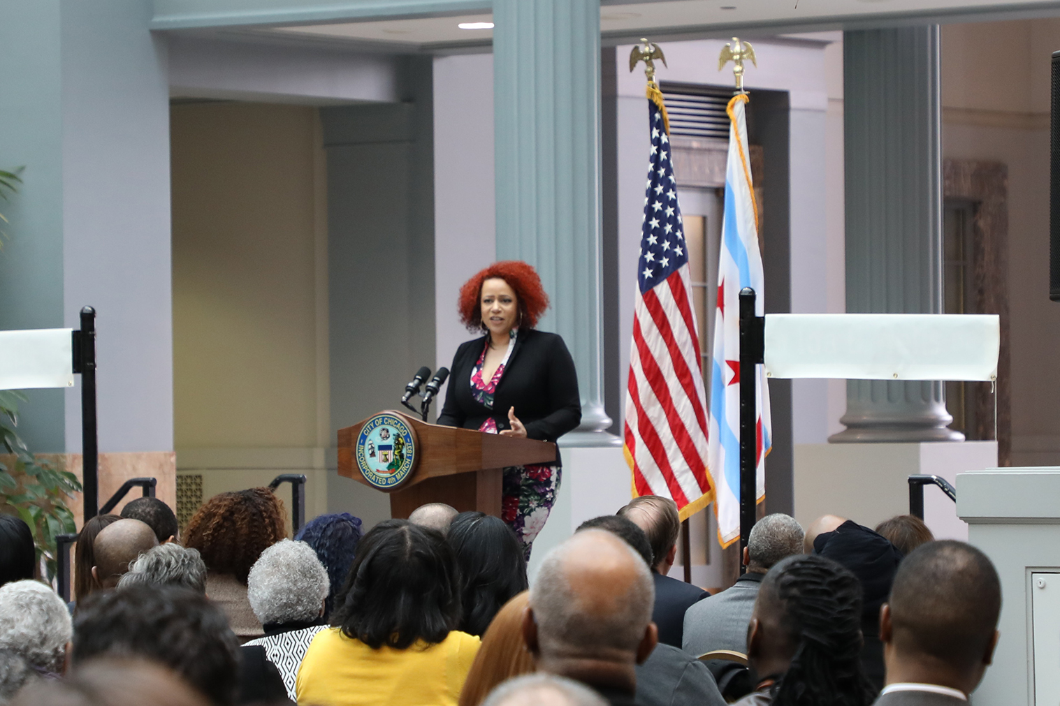 Nikole Hannah-Jones, a New York Times journalist and cofounder of the Ida B. Wells Society for Investigative Reporting, talks about Wells' dangerous, groundbreaking work as a journalist. (Arionne Nettles/WBEZ)