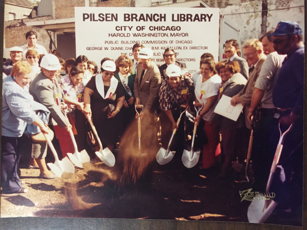 Raquel Guerrero (center) at the groundbreaking of the Rudy Lozano Library in Pilsen. Guerrero along with other parents advocated to get funding for the local branch of the Chicago Public Library. (Courtesy of Raquel Guerrero's family)