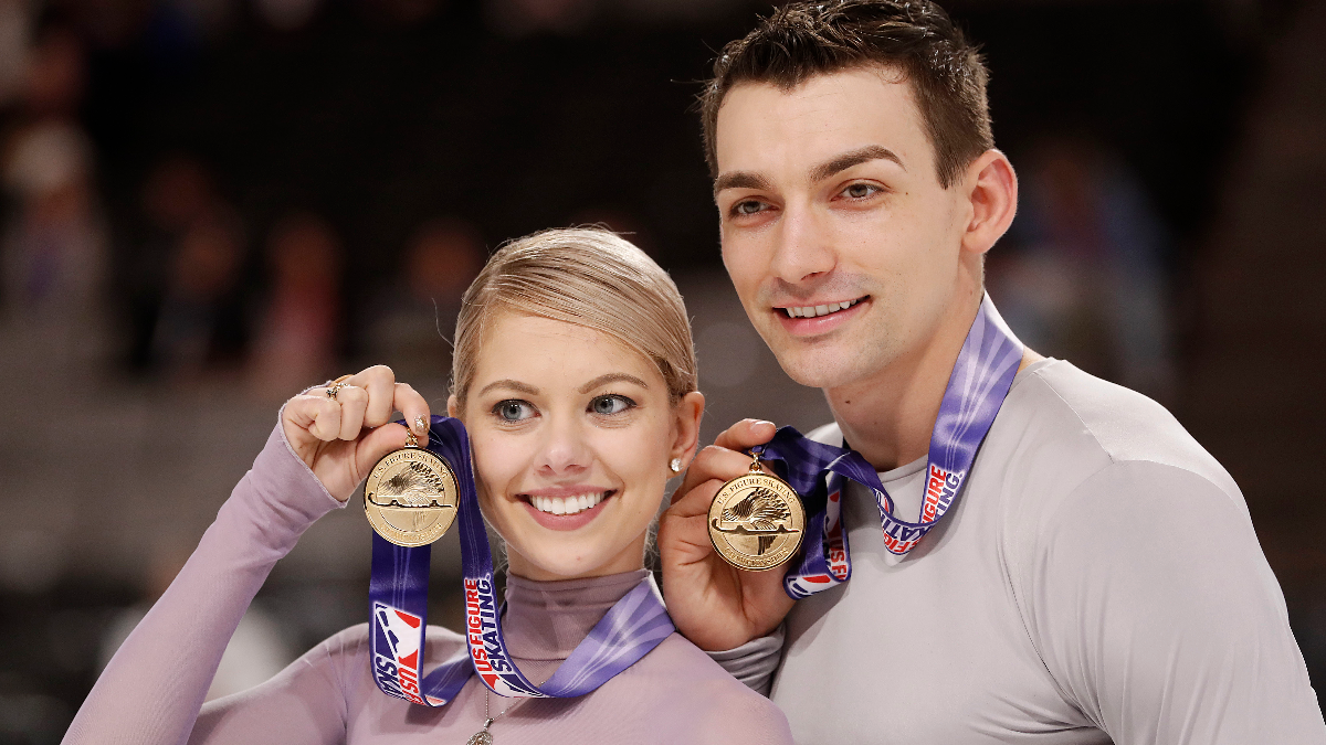 Alexa Scimeca Knierim, left, and Christopher Knierim pose with their medals after winning the pairs event at the U.S. Figure Skating Championships in California on Jan. 6, 2018. (AP Photo/Tony Avelar)