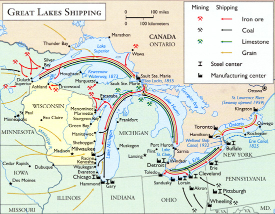 A map of Great Lakes shipping routes during the mid-20th century shows the Chicago and southern Great Lakes regions as main centers for steel manufacturing.
