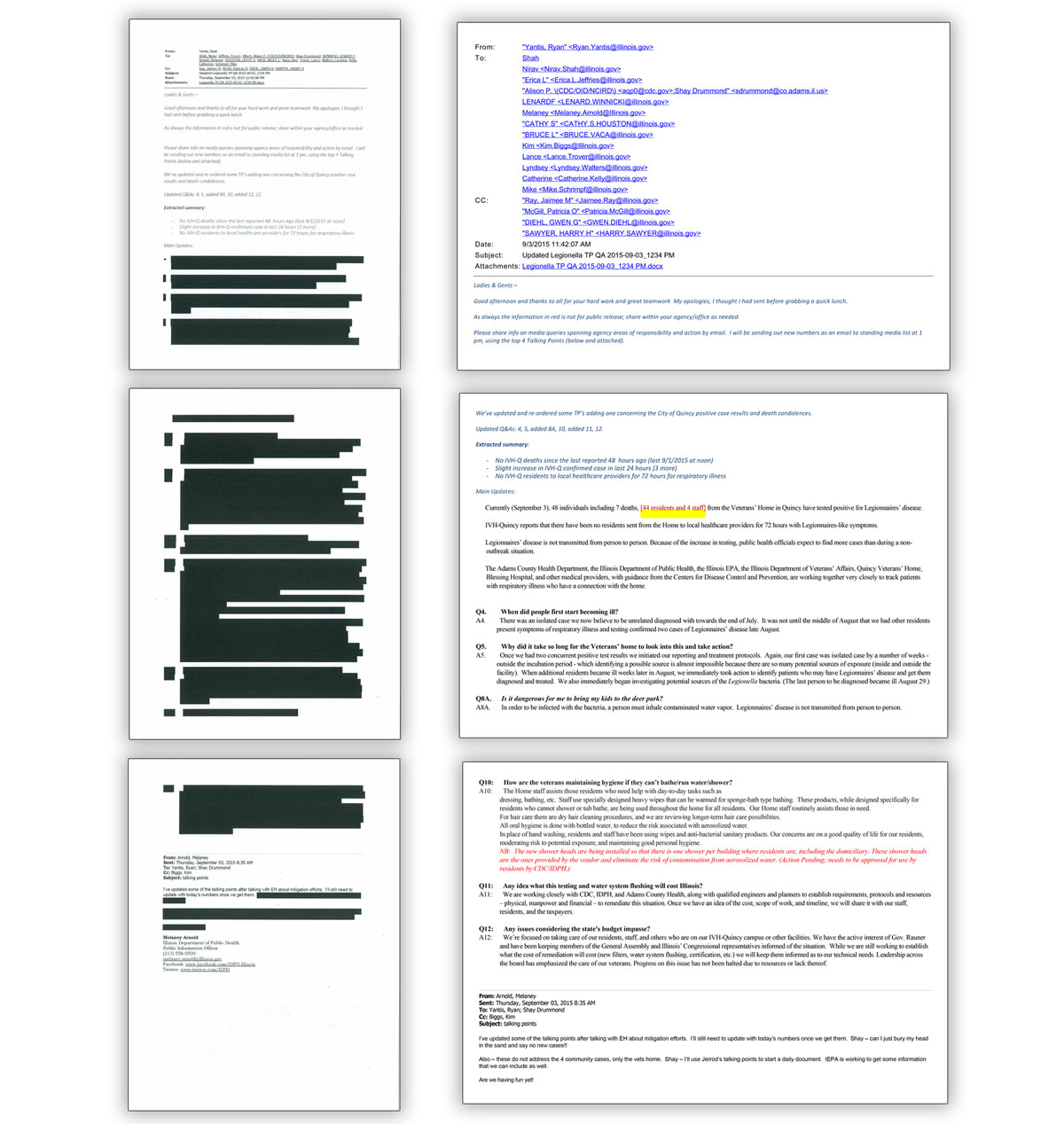 The emails that Gov. Bruce Rauner's administration provided to lawmakers (left) were heavily redacted. Those that the Adams County Health Department released to WBEZ (right), were not.