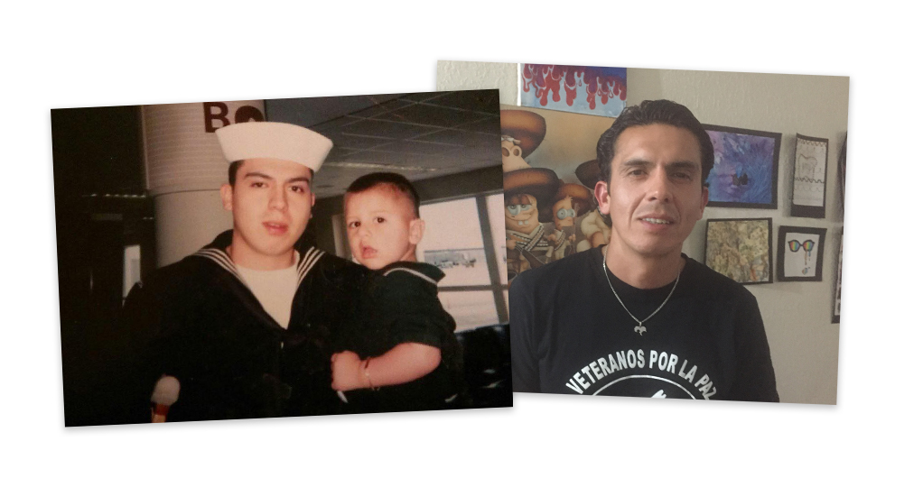 Alex Murillo during his time in the military and today