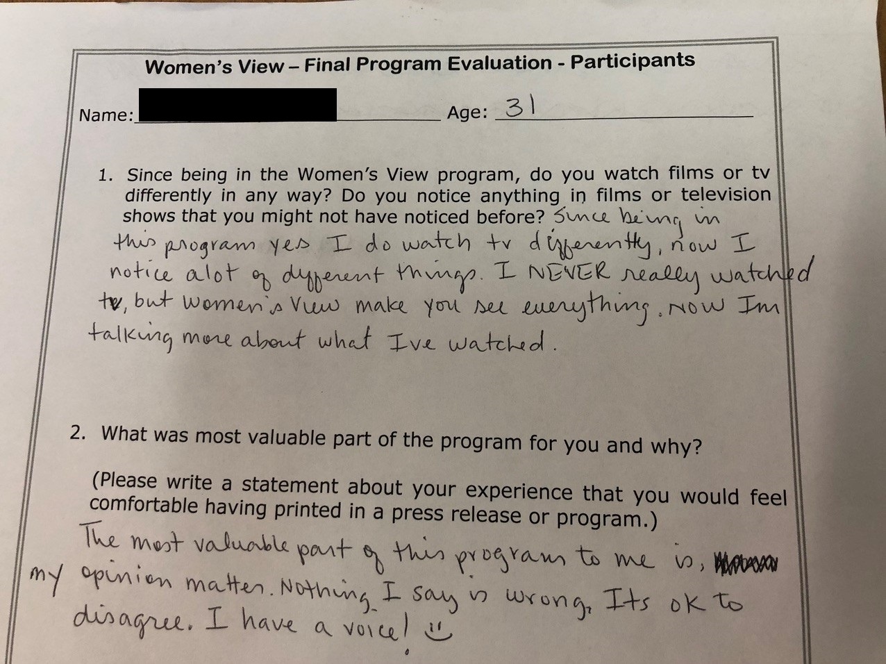 Portions of a Final Program Evaluation for the Women's View program.