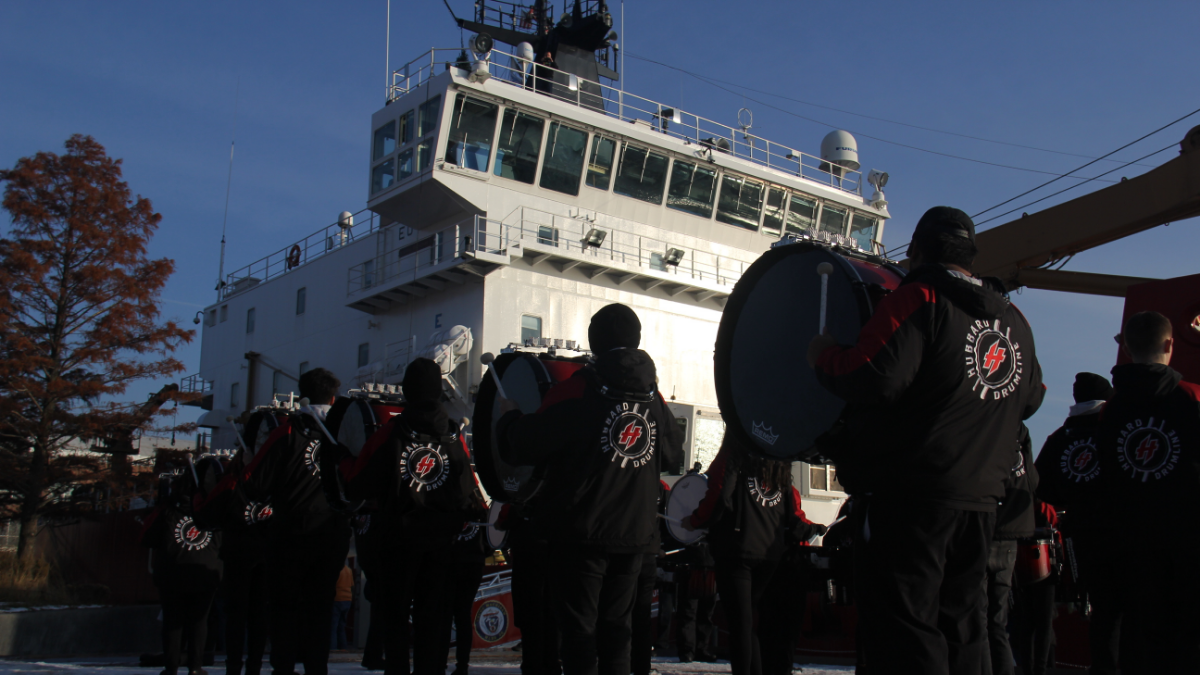Friday morning, a drumline from Hubbard High School welcomed the Christmas Ship. (Lauren Frost/WBEZ)