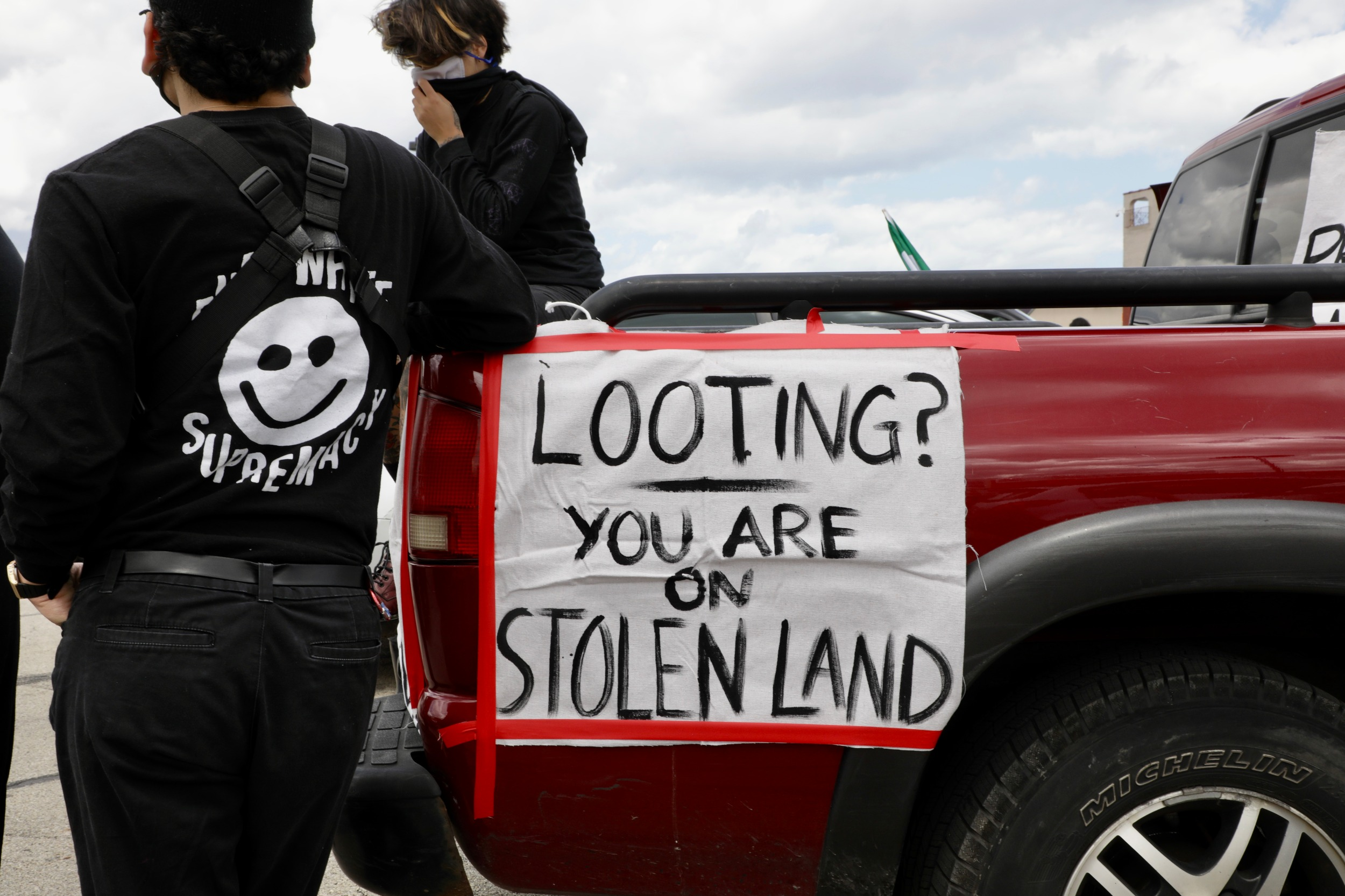 Looting banner Floyd protest