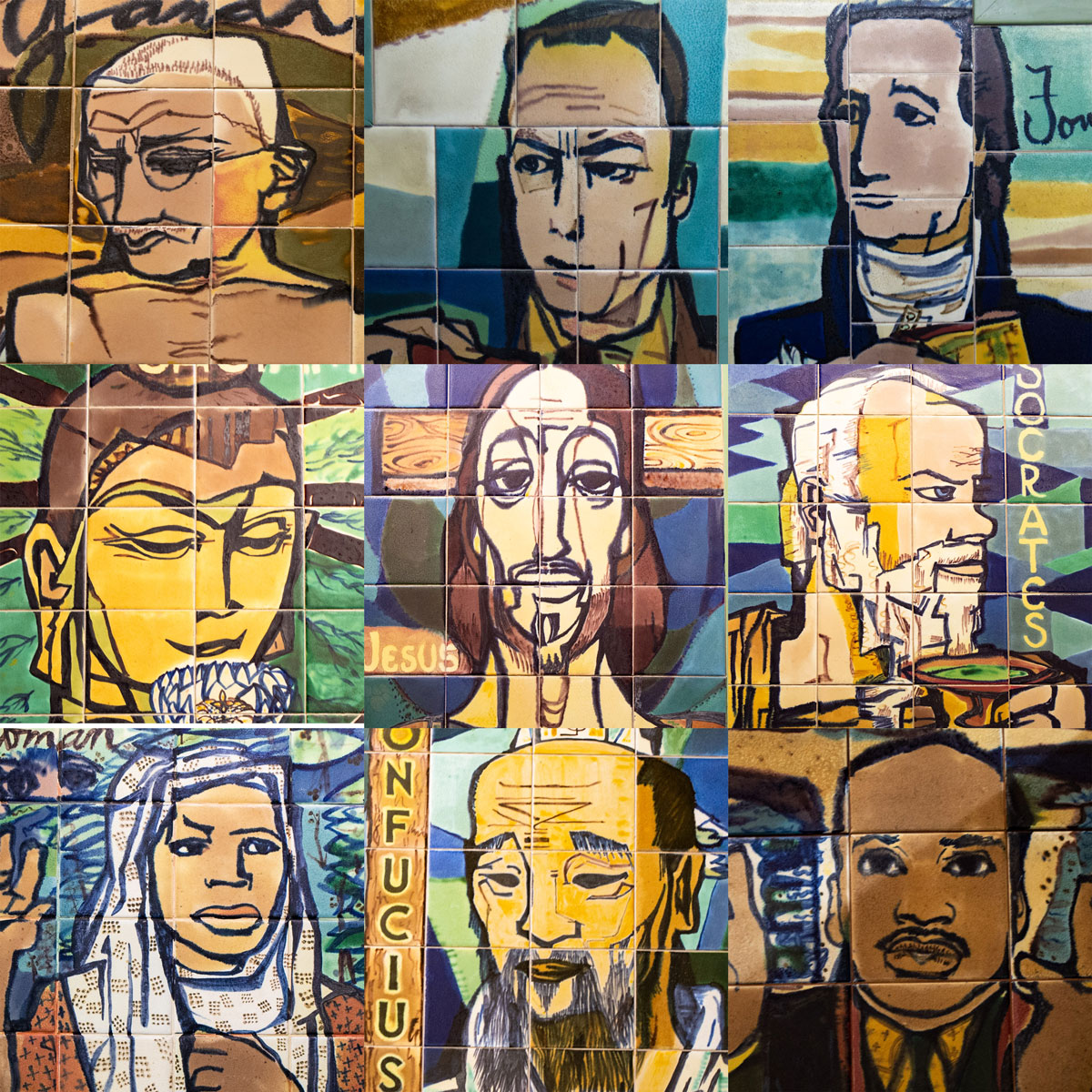 Tile murals of some of the 'saints of liberalism' inside the Third United Church on Chicago's West Side. (Jason Marck/WBEZ)