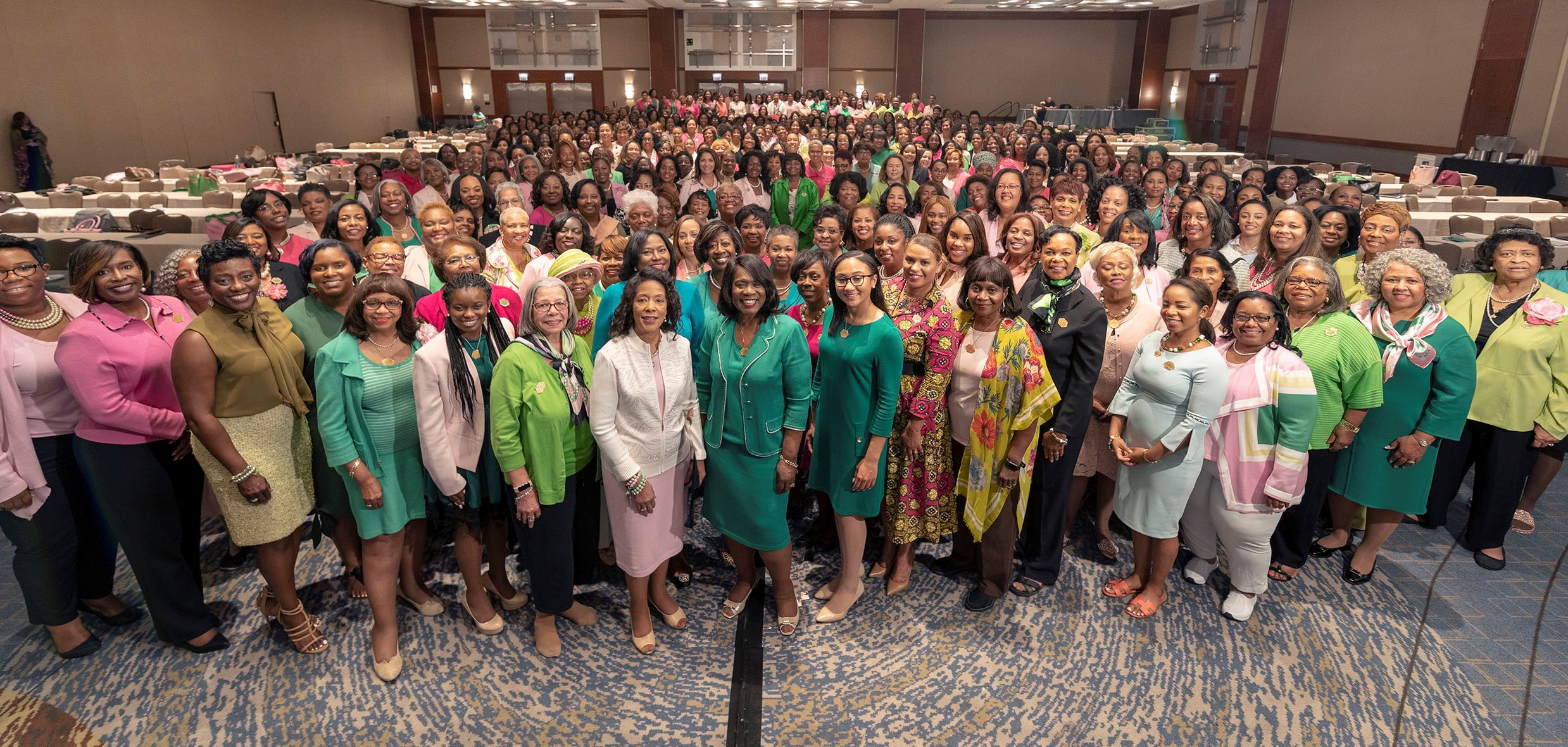 Alpha Kappa Alpha members gather for a photo. Over the course of the next four years, AKA-HBCU Endowment Fund has pledged to distribute $10 million in financial support to 96 accredited institutions. (Courtesy of Alpha Kappa Alpha Sorority Inc.)