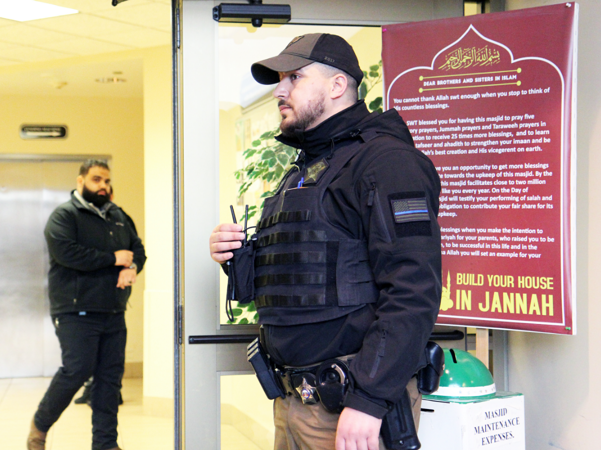 In addition to the private security company that the  Muslim Community Center of Chicago hires (shown here), it also arranged with the Morton Grove Police Department to do additional patrols of the area during worship time Friday afternoon.