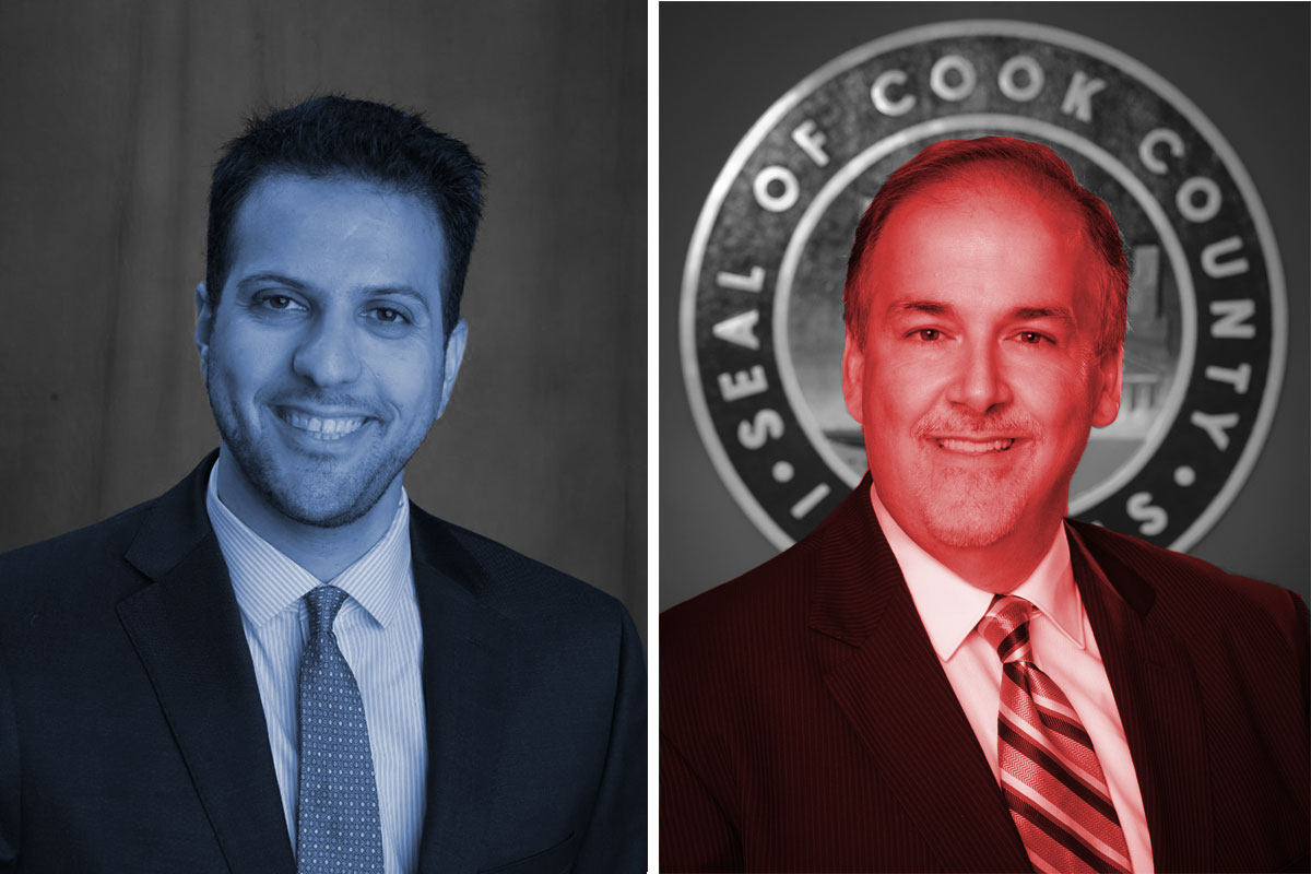 Democrat Abdelnasser Rashid (left), is running to unseat Republican incumbent Sean Morrison (right) as Cook County Commissioner in the 17th District. (Images courtesy of candidates and cookcountyil.gov. Photo illustration: Paula Friedrich)