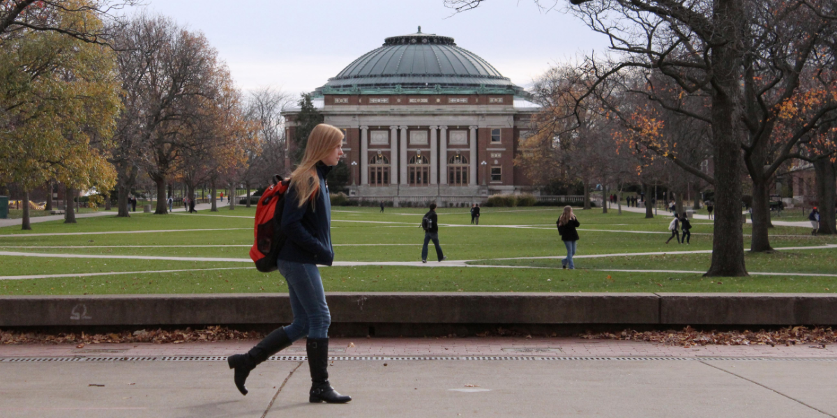 The University of Illinois is one of the state's public universities that could get a funding boost under Gov. Pritzker's proposed budget. (David Mercer/AP)