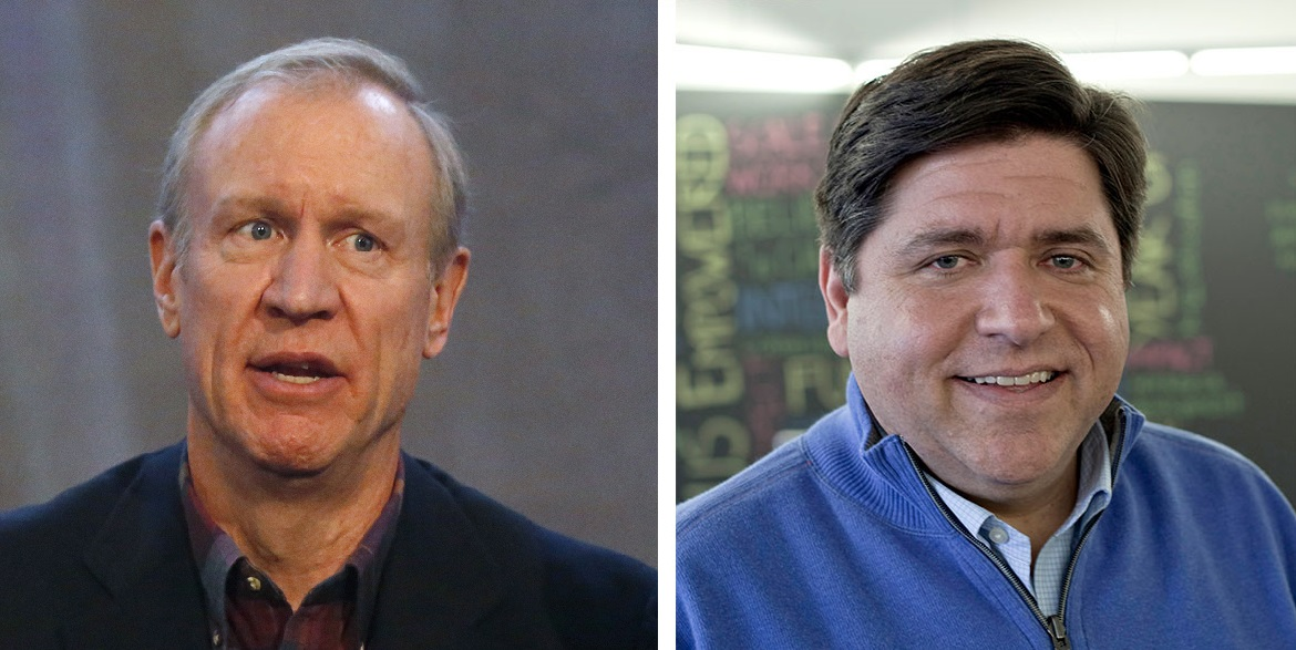 J.B. Pritzker, right, one of the world's richest people, is among several Democrats trying to defeat multimillionaire Gov. Bruce Rauner, left. (Rauner: AP Photo/Charles Rex Arbogast Pritzker: Courtesy of the candidate)