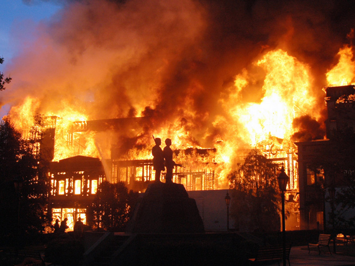 A studio set is engulfed in fire at Universal Studios in Los Angeles, Sunday, June 1, 2008.