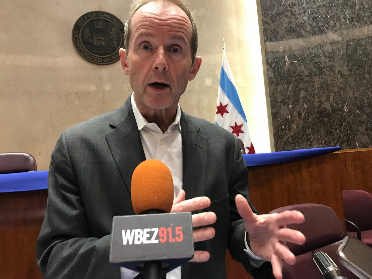 Ald. Tom Tunney speaks with reporters after chairing his first zoning meeting