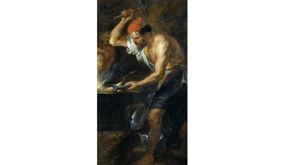 A 1914 depiction of a blacksmith from a James Wallace painting titled Blacksmith, Midday in the Smiddy. (Photo courtesy East Ayrshire Council)